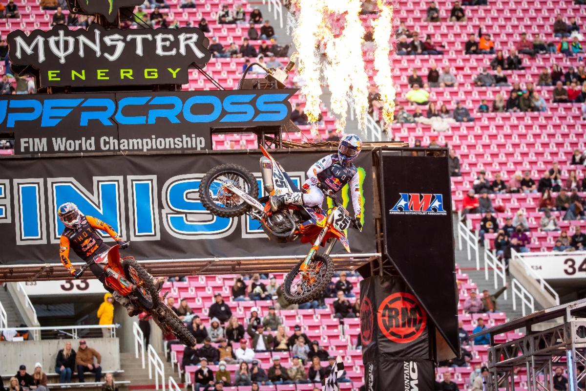 AMA Supercross 2021: Musquin (KTM) (1º) en 450 SX, y Jo Shimoda (Kawasaki) (1º) en 250 SX (Regional Occidental), fueron los ganadores de la 16ª fecha en Salt Lake City (Utah)